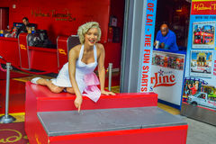 Marilyn Monroe, The Hollywood Walk of Fame stretches for 15 blocks of sidewalk on Hollywood Boulevard. Madame Tussauds Hollywood w Royalty Free Stock Images