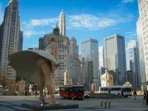 Marilyn Monroe i Chicago på en varm vårmorgon Arkivfoto