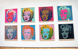 Marilyn Monroe At The MOMA. Multi color images of Marilyn Monroe by Andy Warhol at the Museum of Modern Art(MOMA) in Manhattan, NY Stock Photo