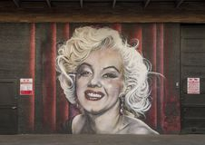 Marilyn Monroe mural, Bishop Arts District, Dallas, Texas. Pictured is mural featuring Marilyn Monroe in the Bishop Arts District, Dallas, Texas. It was created stock photos