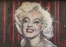 Marilyn Monroe mural, Bishop Arts District, Dallas, Texas. Pictured is mural featuring Marilyn Monroe in the Bishop Arts District, Dallas, Texas. It was created royalty free stock photo