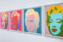 Marilyn monroe. Pop art exhibition with works (Marilyn Monroe) made by Andy Warhol as seen in Museumsquartier in Vienna, Austria stock images