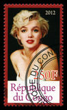 Marilyn Monroe Postage Stamp. REPUBLIQUE DU CONGO - CIRCA 2012: A Postage Stamp from Congo depicting an image of legendary Hollywood actress Marilyn Monroe Stock Images