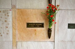 Marilyn Monroes Crypt. On the North Side of Westwood Village Memorial Park Cemetery in Los Angeles stock images