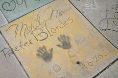 Marilyn Monroe`s Handprints in the Forecourt of Chinese Theatre, Hollywood. Handprints and Signature of Marilyn Monroe in the Forecourt of the Chinese Theatre royalty free stock images