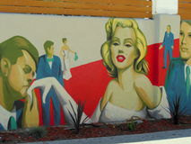 Marilyn Monroe Street Art. Hollywood California is noted for it's street art.  This one of Marilyn Monroe I find represents Hollywood in the 1950's Stock Photos