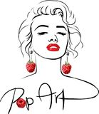 Marilyn - Pop Art Design with sweet raspberry earringMarilyn - Pop Art Design with sweet raspberry earring Royalty Free Stock Photos