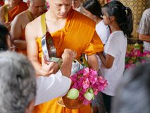 Marim, Chiang Mai / Thailand - April 7 2018: New monks, from a m. Onk ordination in Marim district, Chiang Mai provice, in Thailand walking and arming around the stock photography