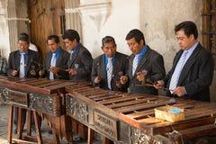 Marimba band playing in Antigua Guatemala Stock Photo