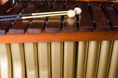 Marimba keys and resonators close up. A detail take of a marimba, its keys and resonators Royalty Free Stock Photos