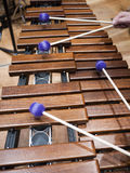 Marimbaphone. Closeup of a marimba phone and mallets Stock Photos