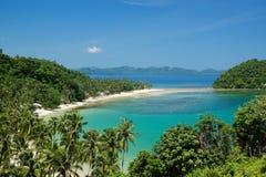 Marimegmeg (Las Cabanas) Beach in El Nido, Philippines Royalty Free Stock Photos