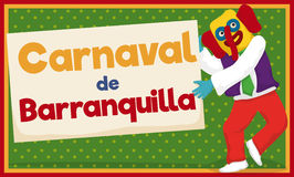 Marimonda Dancing and Holding Sign for Barranquilla`s Carnival, Vector Illustration Royalty Free Stock Photo