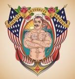Marin américain beau Tattoo illustration de vecteur
