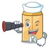 Marin avec l'annonce binoculaire d'enveloppe dans le cabinet de mascotte illustration libre de droits