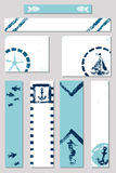 Marin- baner för annons för stil för grungesvamptryck ställde in med illustrationer av ett fartyg, ett ankare, en sjöstjärna, fis Arkivbilder