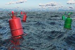 Marin- boj i det öppna havet, 3D royaltyfri illustrationer
