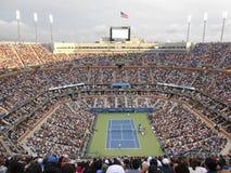 Marin Cilic contra Kei Nishikori en U S Abra el final 2014 Foto de archivo libre de regalías