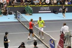 Marin Cilic e Klizan nella stazione termale aperta di tennis di Valencia Fotografia Stock