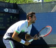 Marin cilic prepares to receive serve Stock Photography