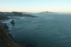 Marin County from the Golden Gate Bridge. View with water, mountains, and Angel Island Royalty Free Stock Image