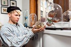 Marin de vintage avec les poissons de porc-épic minces-spined bourrés Images libres de droits