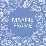 Marin- den drog ramsnäckskalhanden skissar stilillustrationpatt Royaltyfria Foton