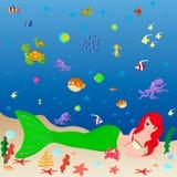 Marin- djurliv och en sjöjungfru stock illustrationer