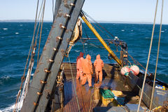 Marin- fiske 1 Trålaren drar snurrevaad från vattnet av Stilla havet Royaltyfria Bilder