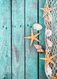 Marin- gräns av fisknätet med skal och sjöstjärnan Royaltyfri Foto