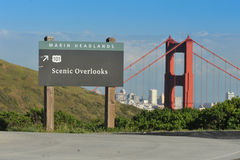 Scenic Overlook sign near the Golden Gate Bridge Stock Image