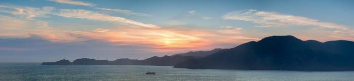 The Marin Headlands Panoramic Sunset as seen from San Francisco. Sausalito in Marin County, California, USA Stock Photo