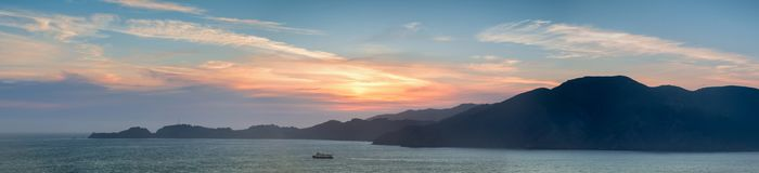 Marin Headlands Panoramic Sunset comme vu de San Francisco Photo stock