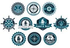 Marin- heraldiska etiketter för cirkel Arkivbild