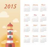 Marin- kalender 2015 år med fyren Royaltyfri Fotografi