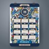 Marin- kalender för klotter 2016 år design Arkivbild