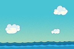 Marin- landskap med havet och moln Arkivbilder