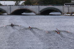 Marin(left), Saratoga(center),OKC Riversport(right) races in the Head of Charles Regatta Stock Image