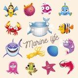 Marin- liv För havs- och havdjur för tecknad film rolig uppsättning Vektorillustration som isoleras på vit bakgrund Arkivfoto