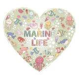 Marin- liv themed design med beståndsdelar Arkivfoton