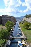 Marin. E channel with boats and fortresses and bridges Royalty Free Stock Photo
