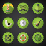 Marin Marine Flat Vector Icon Set de marine Incluez le rada de sonar de poissons illustration stock