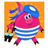 Marin mignon de porc avec des jumelles. s Photo stock