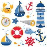 Marin- nautisk vektorsamling royaltyfri illustrationer