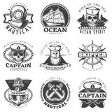 Marin Naval Label Set de vintage Photo libre de droits
