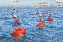 Marin- navigations- boj i det öppna havet, tolkning 3D royaltyfri illustrationer