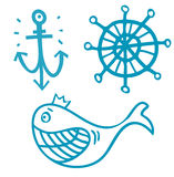 Marin- objekt vektor illustrationer