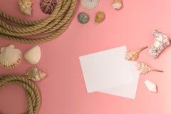Marin- semesterbakgrund f?r sommartid med massor av sn?ckskal, kiselstenar, nautiskt rep p? rosa bakgrund Det finns ett ark av pa royaltyfri bild