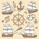 Marin- skepp för tappning Gammalt cartoucheram, skeppankare och havshjul med den forntida kompasset Retro vektor för havsegelbåt vektor illustrationer