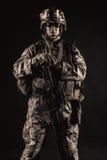 Marin- studioskott för USA på svart bakgrund Royaltyfria Foton